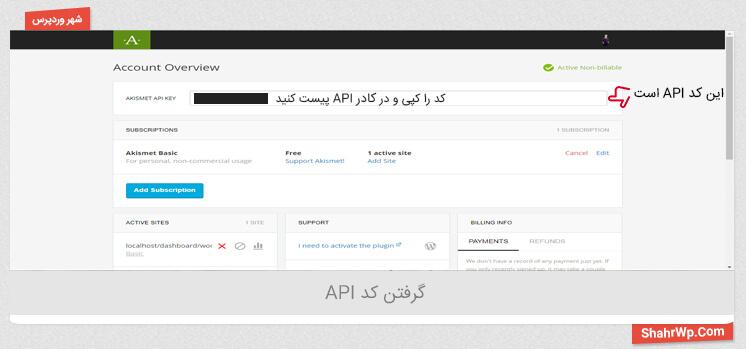 کد API را کپی کنید