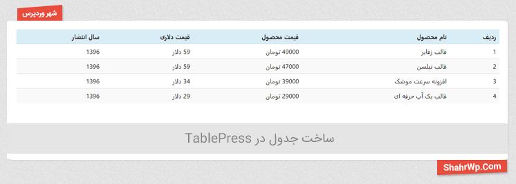 ساخت جدول در TablePress