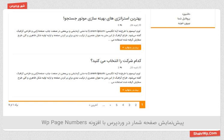 پیش نمایش افزونه WP Page Numbers