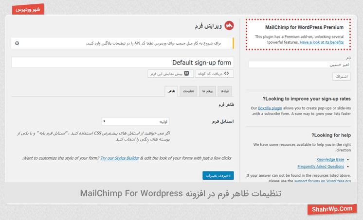 تنظیمات ظاهر فرم در افزونه MailChimp For WordPress